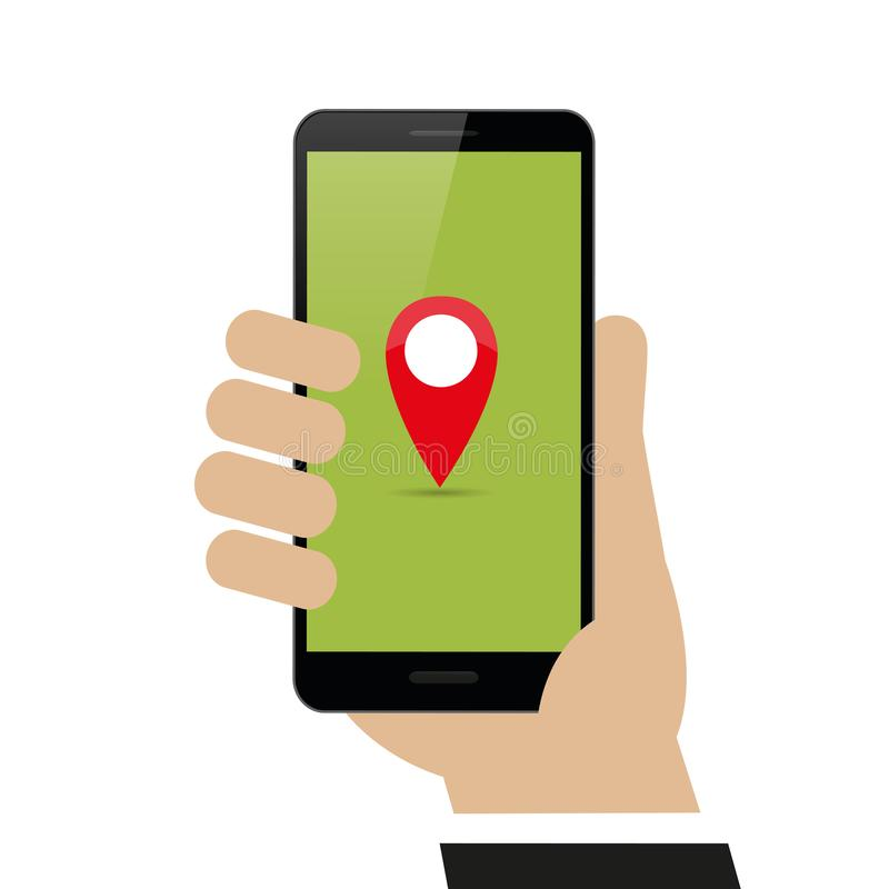 Hand holds smartphone with map pointer on display navigation vector illustration