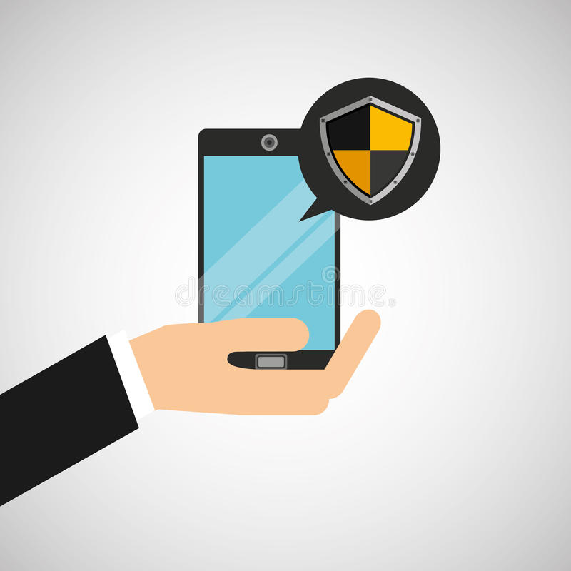Hand holds smartphone padlock protection shield icon vector illustration