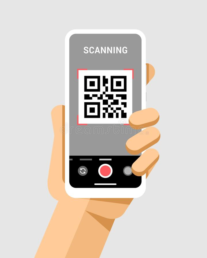 Hand holds the smartphone with qr code in camera application. Flat vector modern phone mock-up illustration. Flat vector illustration of smartphone mockup in royalty free illustration