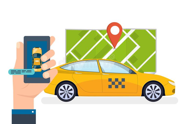 Hand holds smartphone. Taxi ordering service, calling. Order, mobile application. stock illustration