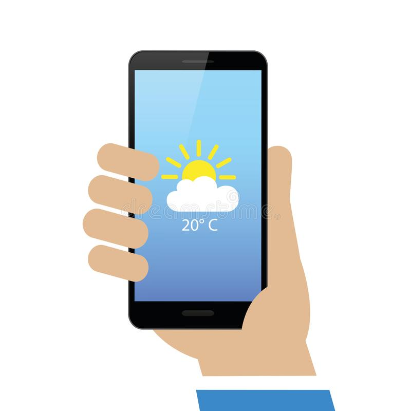 Hand holds smartphone with weather report on display. Isolated on white background vector illustration EPS10 royalty free illustration