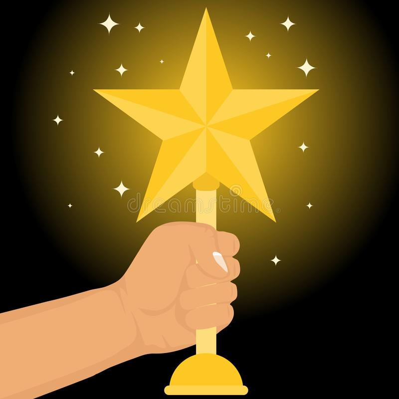 The hand holds the sports cup in the form of a golden star. Sports Cup gold stars in the hand of man on a black background. stock illustration