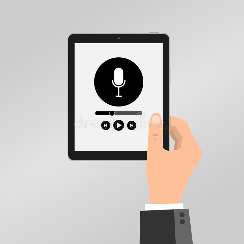 Hand holds tablet with music player, podcast. Media player app on touchscreen. Vector illustration in flat style royalty free illustration