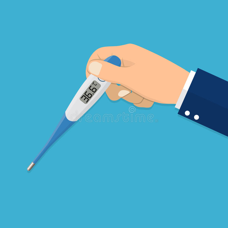 The hand holds a thermometer. vector illustration