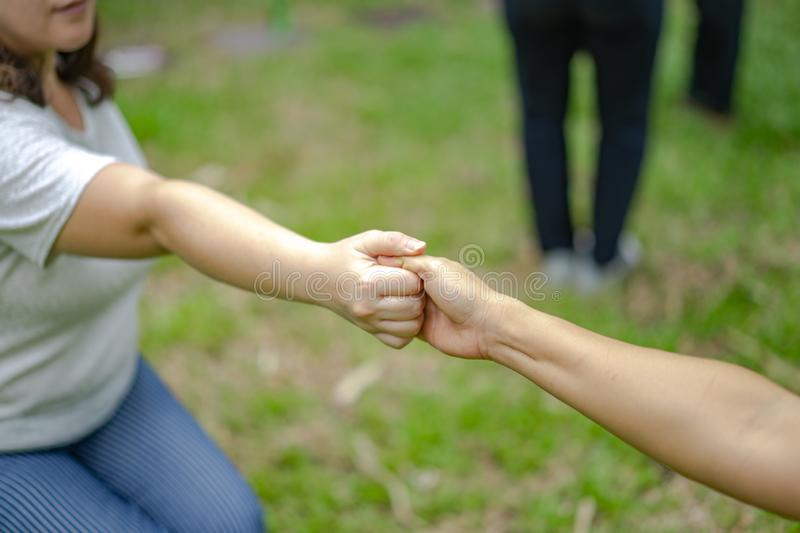 Hand holds together in the community in the garden / park stock photography