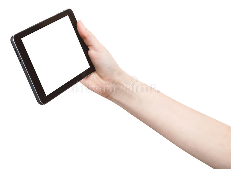 Hand holds touchpad with cutout screen. Isolated on white background royalty free stock image