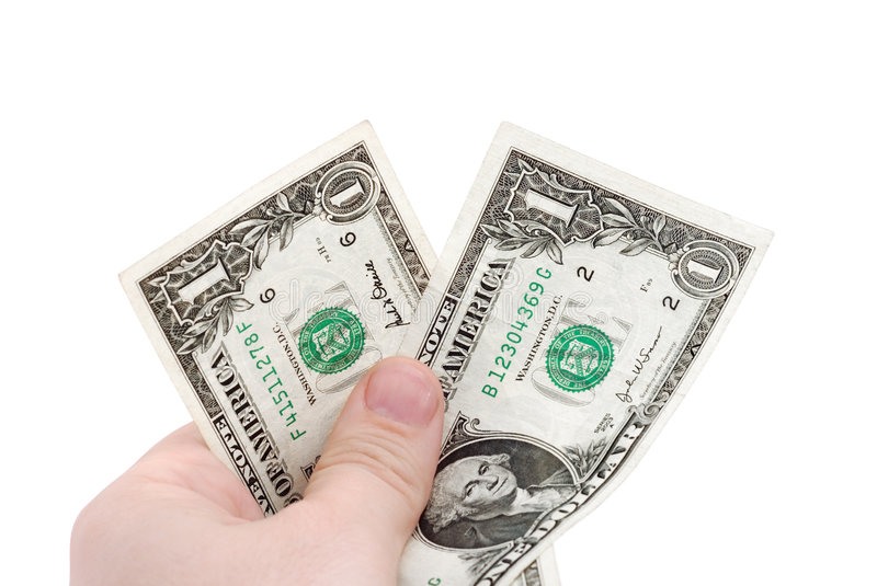 Download The hand holds two dollars stock image. Image of currency - 8909033