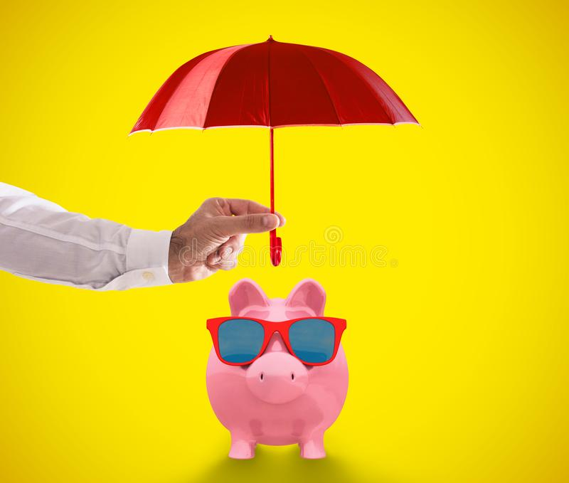 Secure your savings by relying on qualified people. 3D Rendering. Hand holds an umbrella on a relaxed piggy bank. 3D Rendering vector illustration