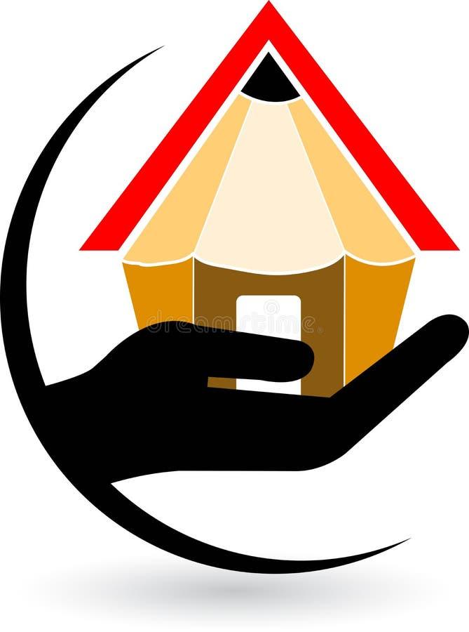 Hand home pencil logo vector illustration