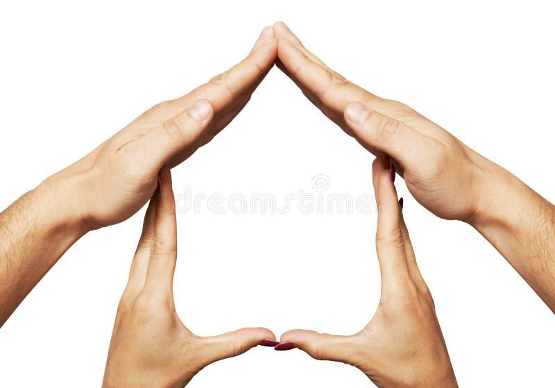Hand home symbol stock photo