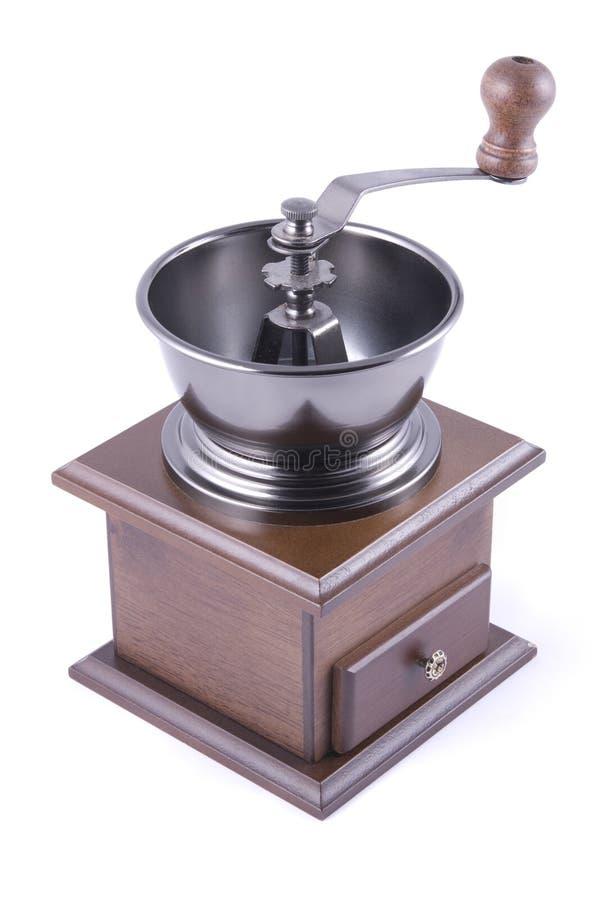 Hand houten koffiemolen stock foto