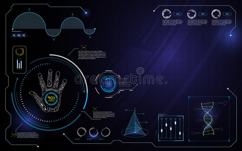 Hand hud interface ui technology innovation computer concept design template background royalty free illustration