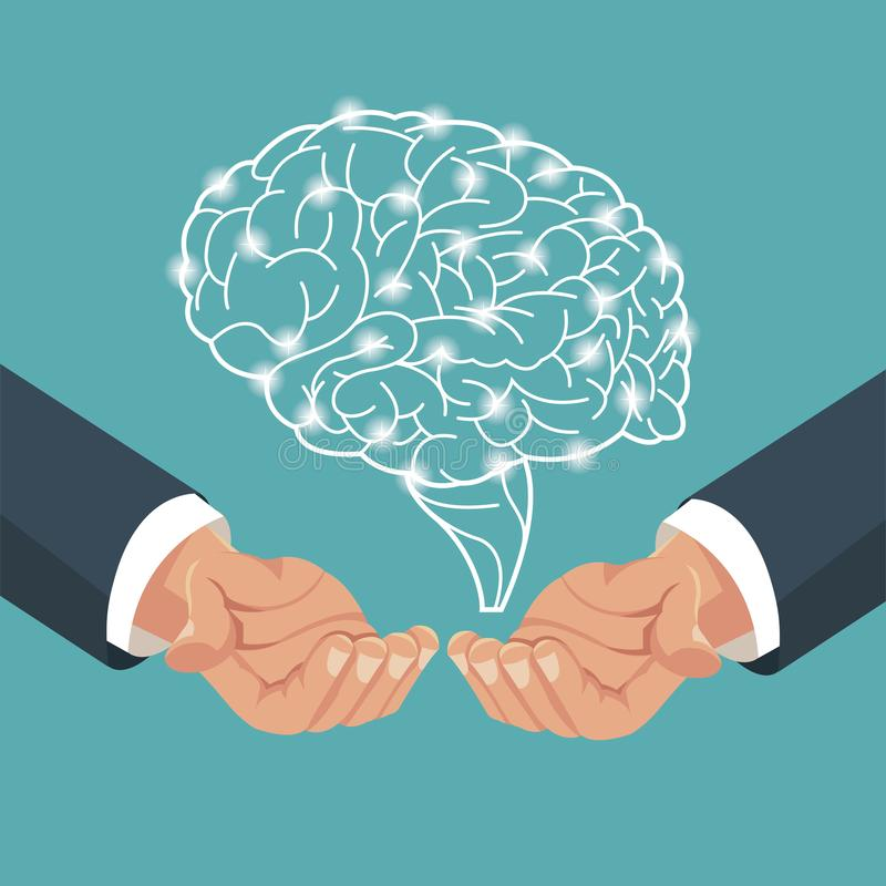 Hand with human brain process royalty free illustration