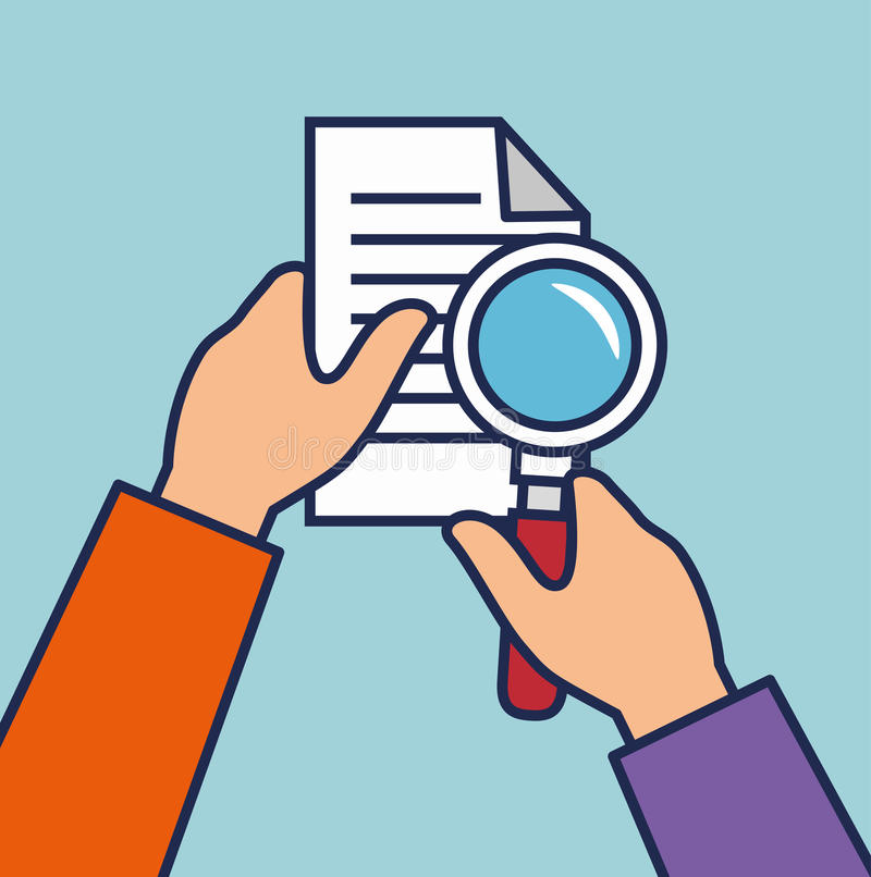 Hand human with document and magnifying glass. Vector illustration design vector illustration