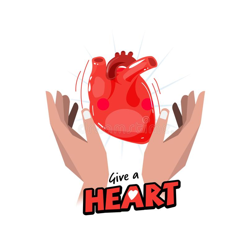 Hand with Human heart. hope and organ donation concept. logotype stock illustration