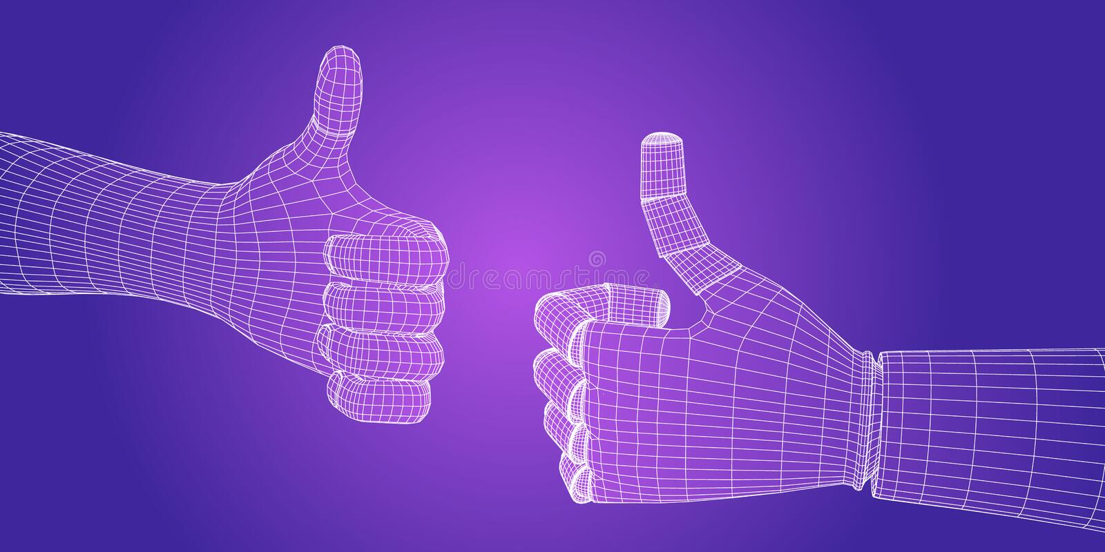 Hand human and robot  thumb up thumbs. Science and technology concept. Artificial intelligence technology. Vector illustration royalty free stock photography
