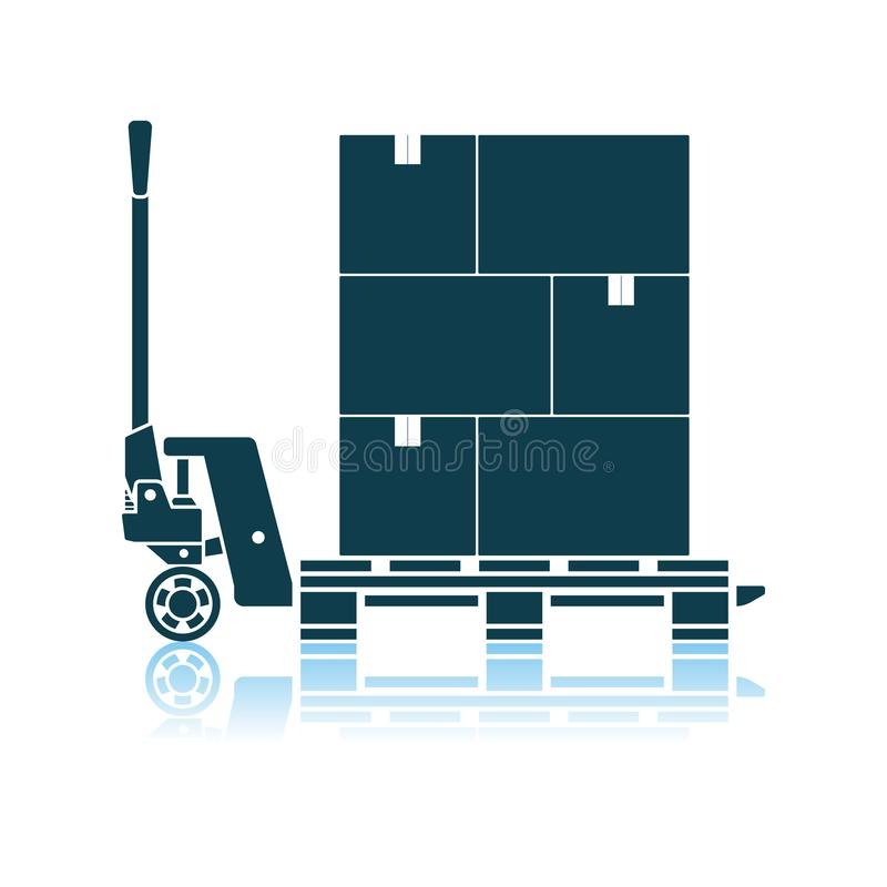 Free Hand Hydraulic Pallet Truc With Boxes Icon Royalty Free Stock Image - 151767726