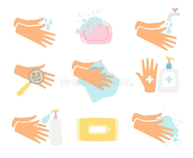 Hand hygiene icons set vector illustration