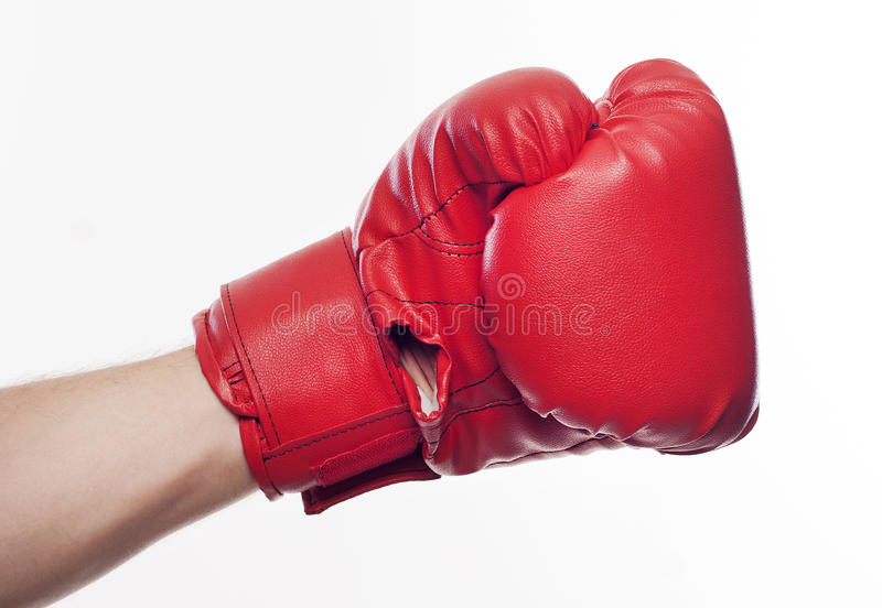 Hand i boxninghandskar arkivfoto