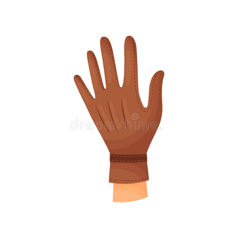 Hand i brun handske p? vit bakgrund stock illustrationer