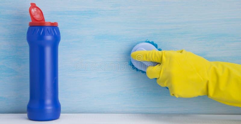 Hand i en gul handske som borstar yttersidan som står bredvid en blå krus med rengöringsmedlet, på en ljus bakgrund royaltyfria foton