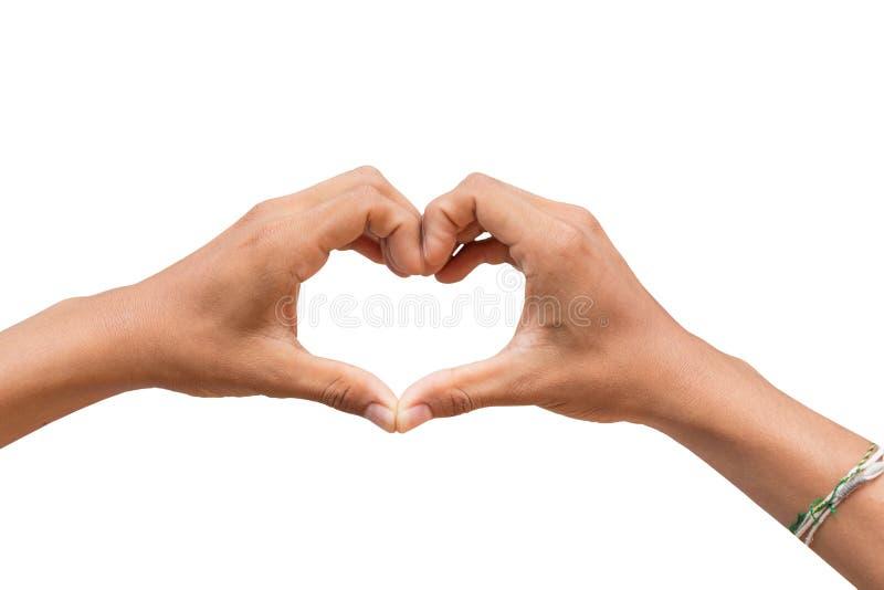Hand i förälskelse för hjärtaformshow arkivbilder