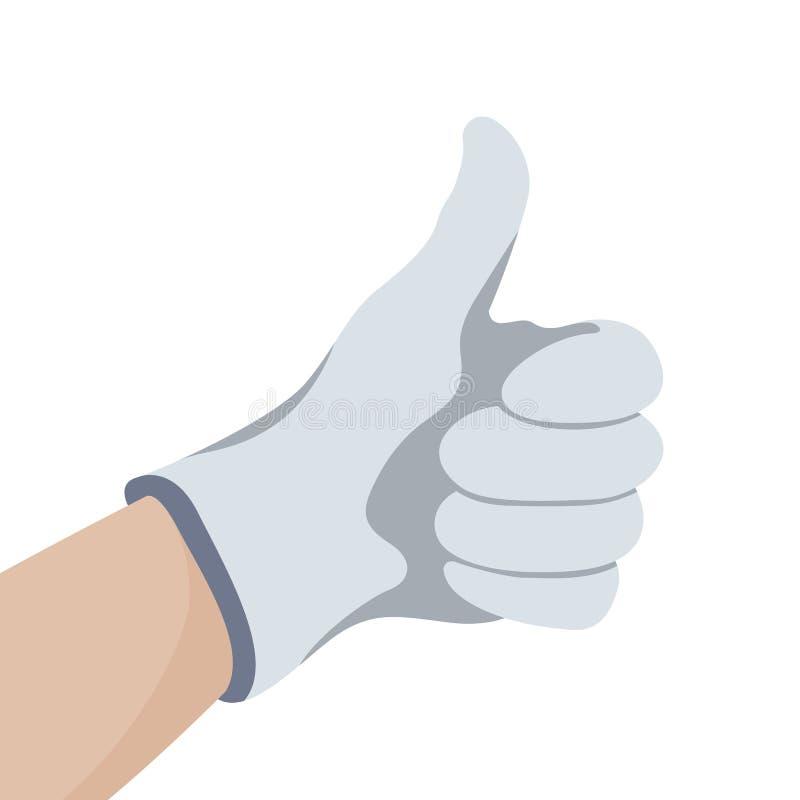 Hand i handske med tummen upp vektorillustrationlägenhet vektor illustrationer