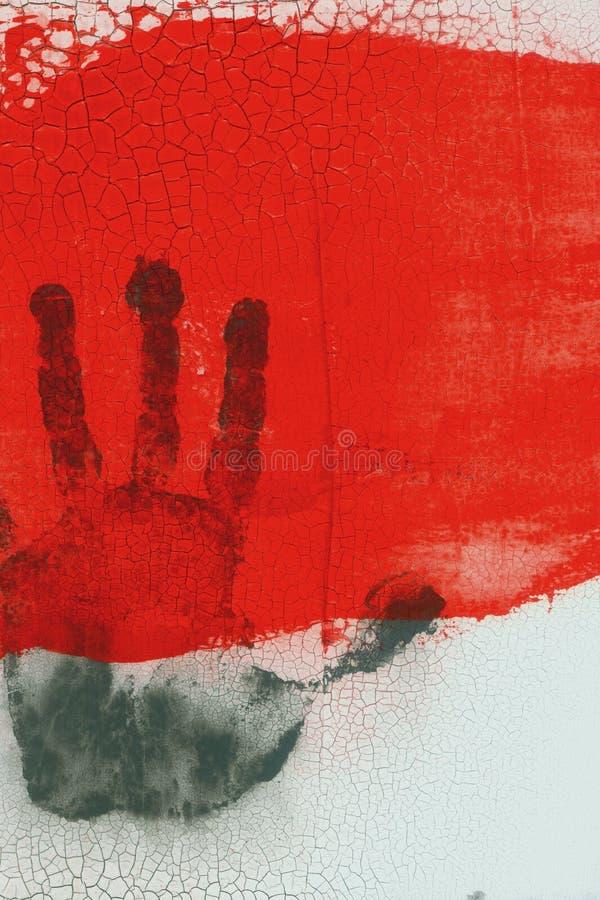 Hand i rött fotografering för bildbyråer