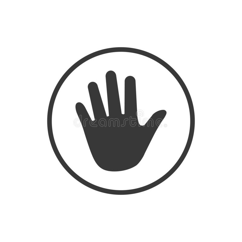 Hand icon in circle . Vector illustration isolated on white background. Hand icon in circle . Vector illustration isolated on white background stock illustration