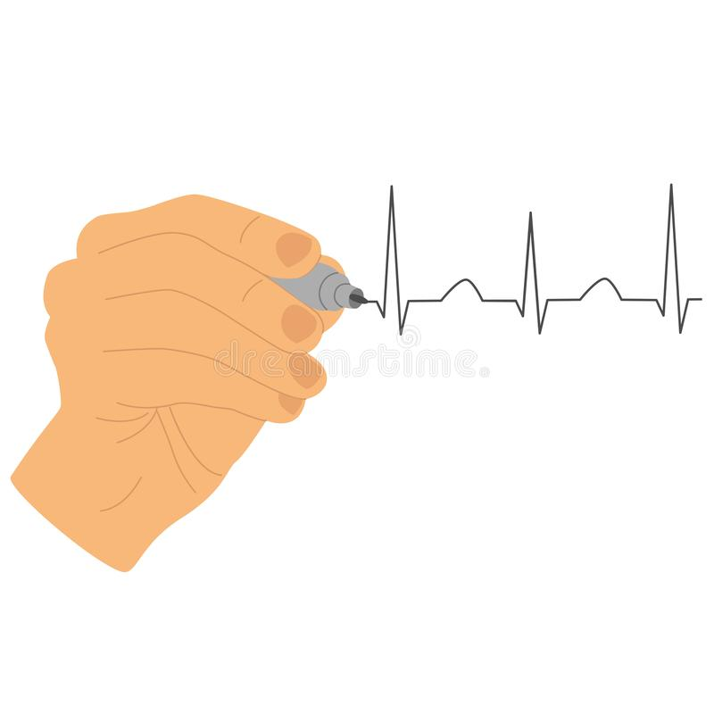 Hand icon. Hand draws a cardiogram with a marker. Isolated object. Vector illustration vector illustration