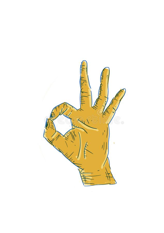 Hand icon of perfection, in cartoon style. royalty free stock photos