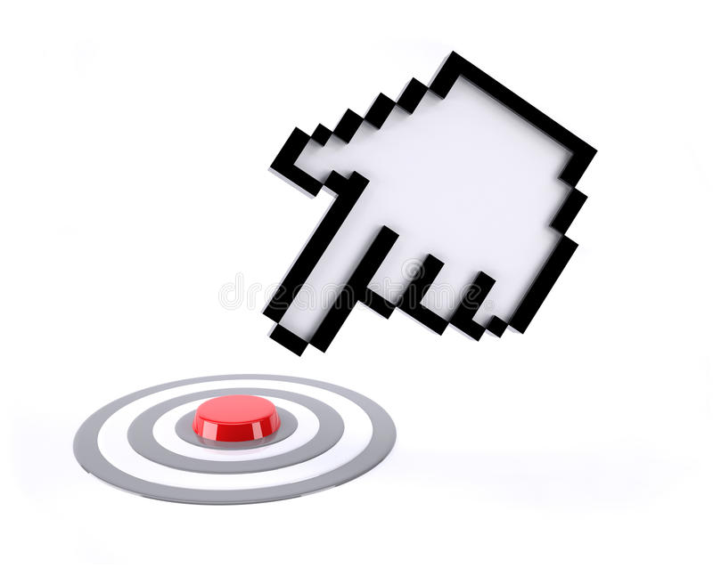 Hand icon pointer click on red button. Isolated on white background royalty free illustration