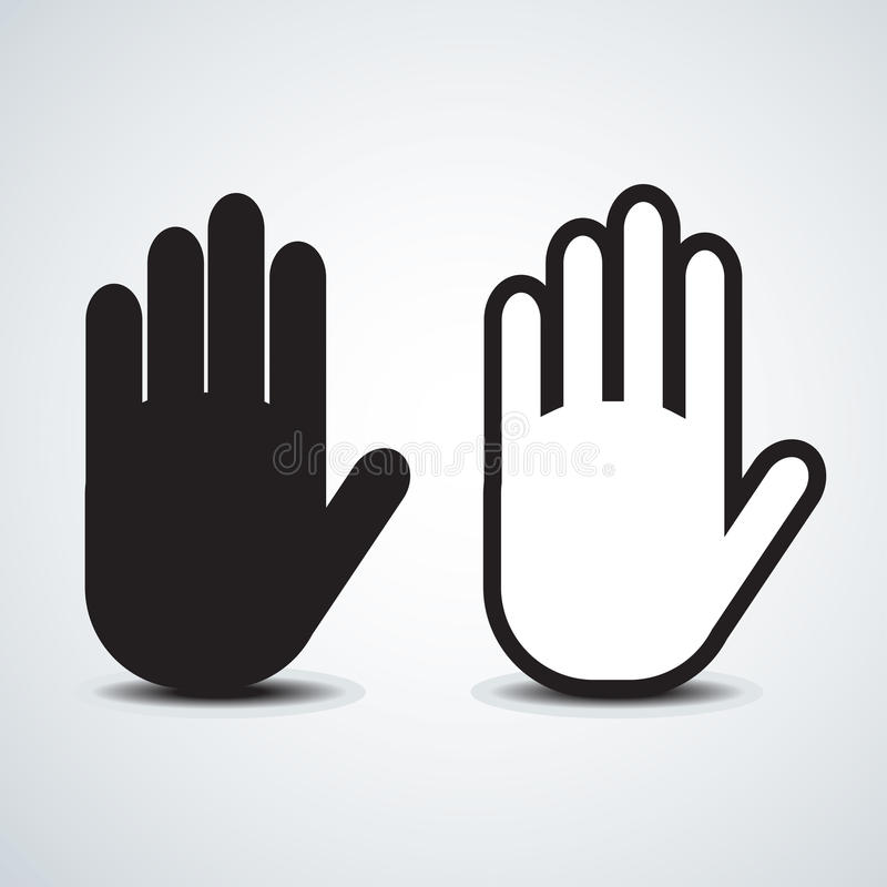 Hand. Icon, stop symbol black abstract