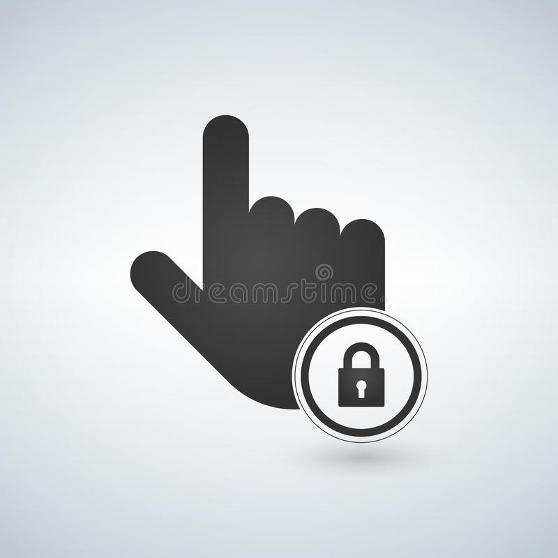hand icon. touch screen locked icon. click symbol. illustration. royalty free illustration