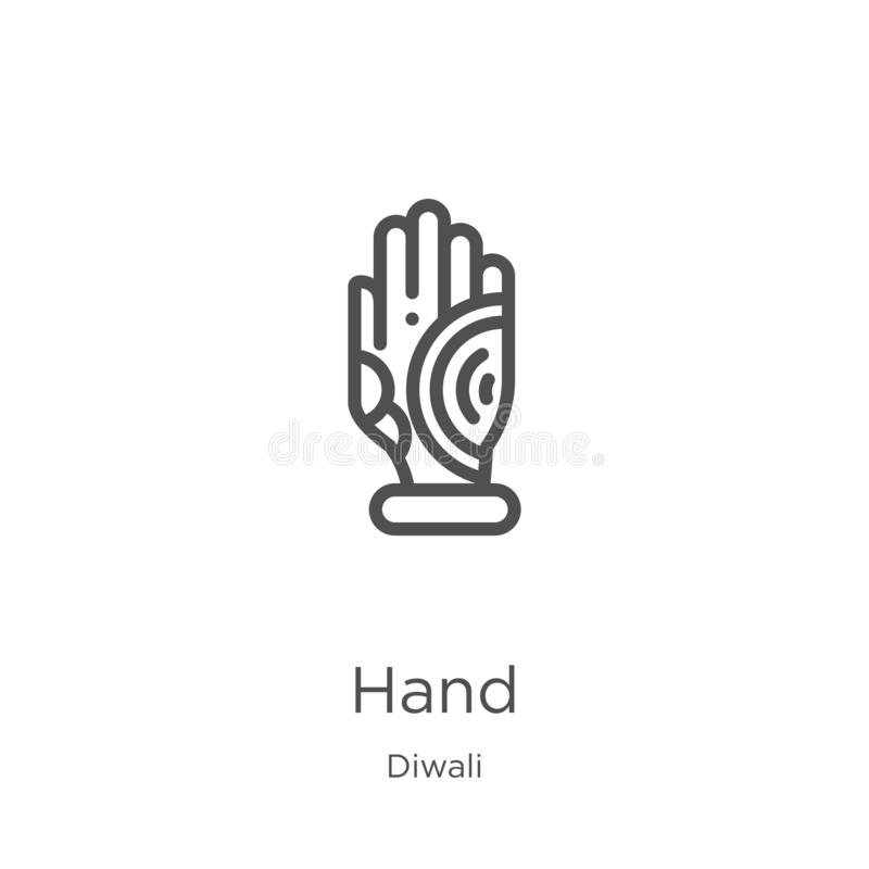 hand icon vector from diwali collection. Thin line hand outline icon vector illustration. Outline, thin line hand icon for website royalty free illustration
