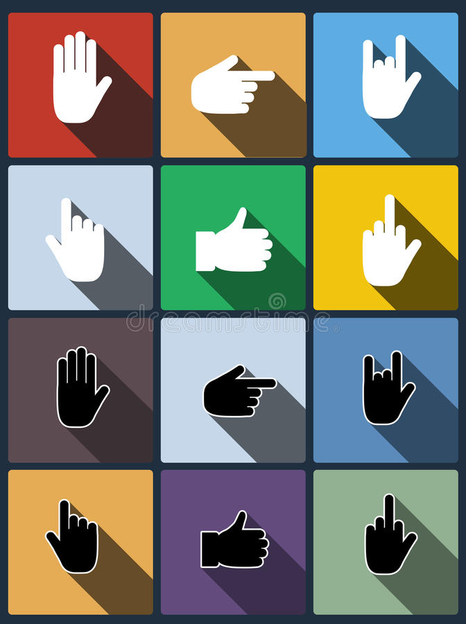 Hand Icon. Vector Set. Stock Images