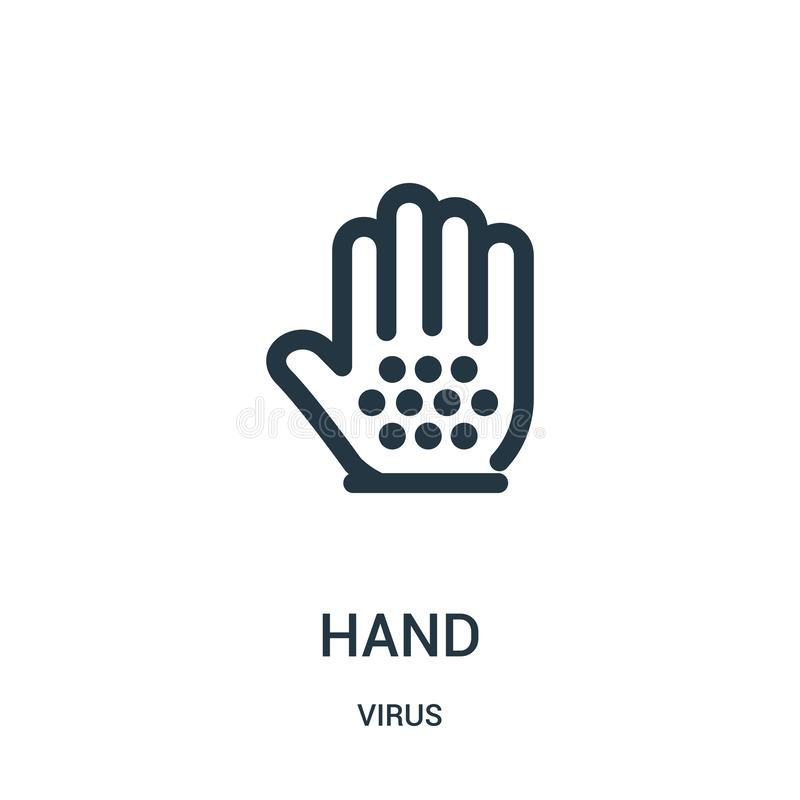 hand icon vector from virus collection. Thin line hand outline icon vector illustration vector illustration