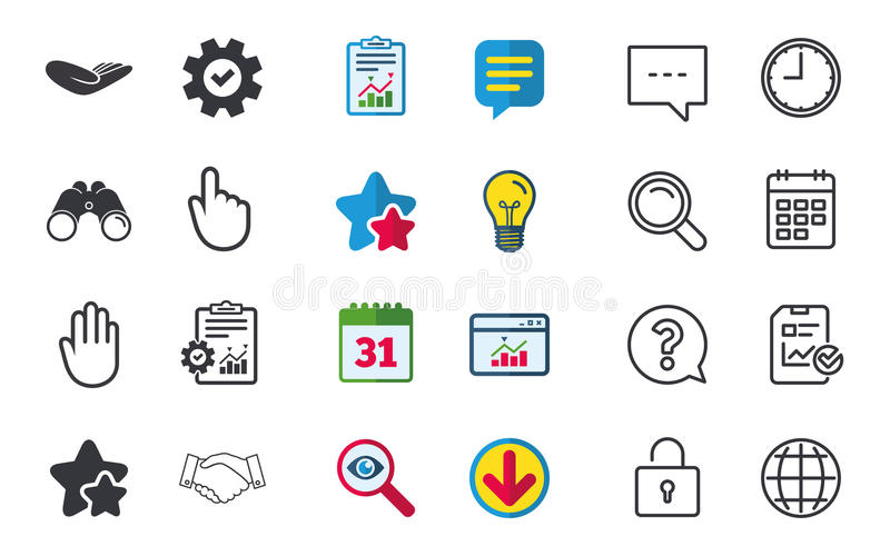 Hand icons. Handshake and click here symbols. Hand icons. Handshake successful business symbol. Click here press sign. Human helping donation hand. Chat, Report stock illustration