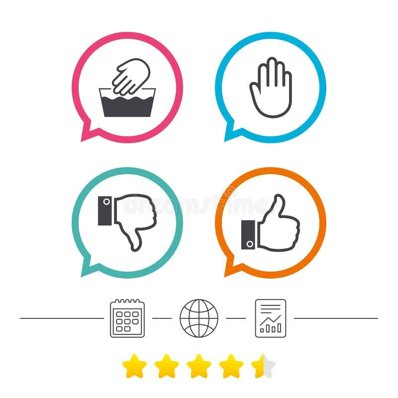 Hand Icons Like And Dislike Thumb Up Symbols Stock Vector