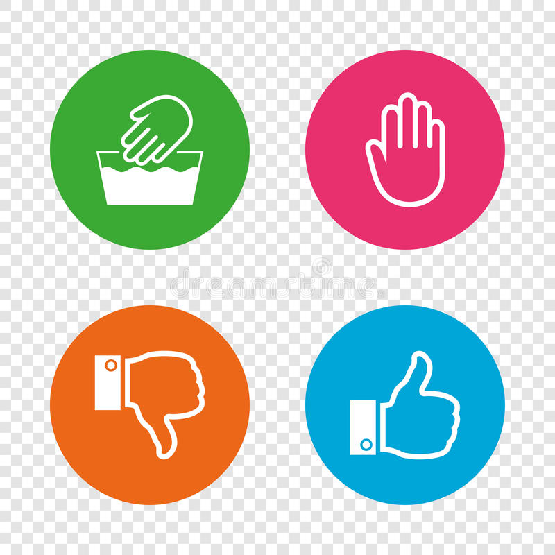 Hand Icons Like And Dislike Thumb Up Symbols Stock Vector