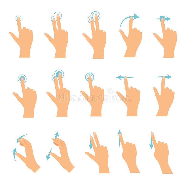 Hand icons showing commonly used multi-touch gestures for touchscreen tablets or smartphones. Flat design modern vector business vector illustration