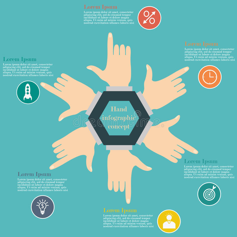 Hand infographic concept. Hand infographic circle concept. Vector illustration of hands in the form of circle. Business concept with 6 options, parts or steps royalty free illustration