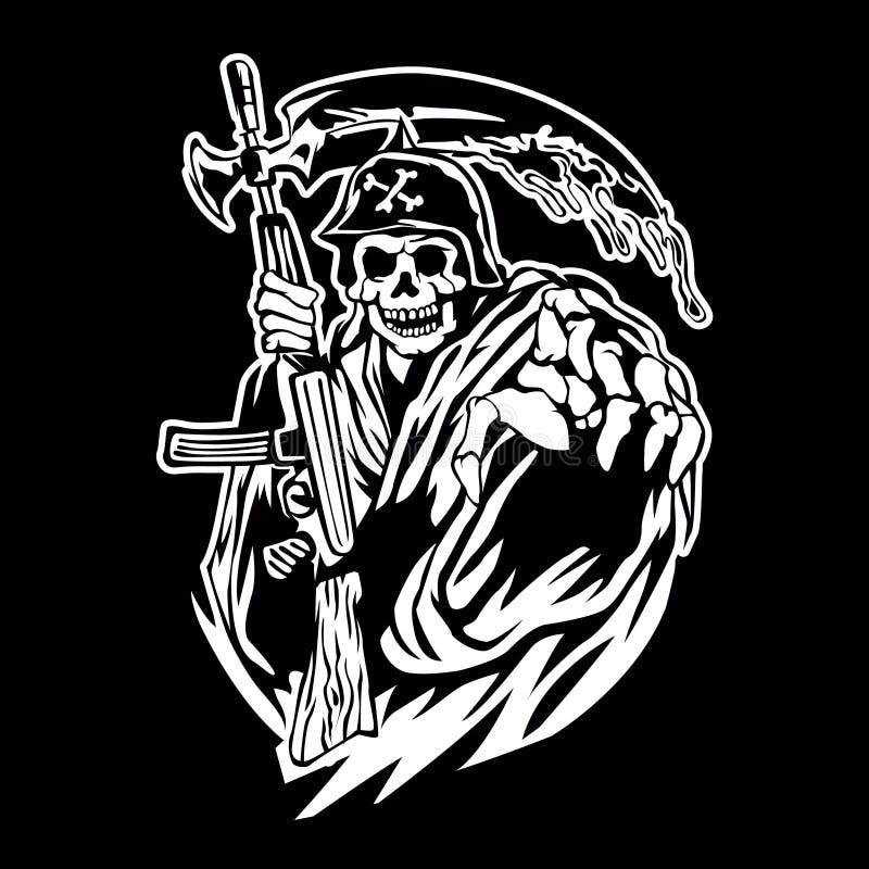Hand Inked Grim Reaper vector illustration