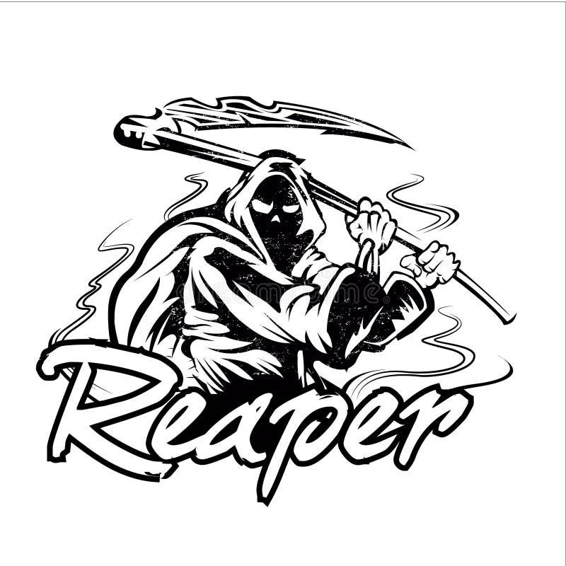 Hand Inked Grim Reaper Illustration stock illustration