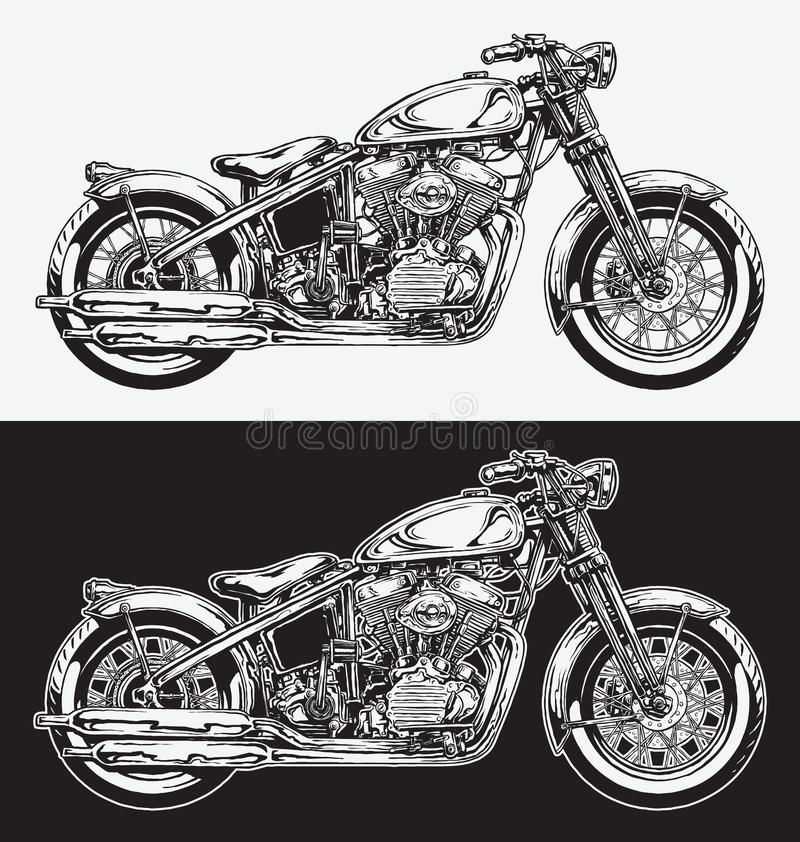 Free Hand Inked Motorcycle Stock Photography - 56081502