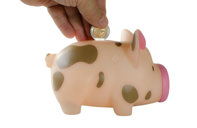 Hand insert coin into piggy bank royalty free stock images