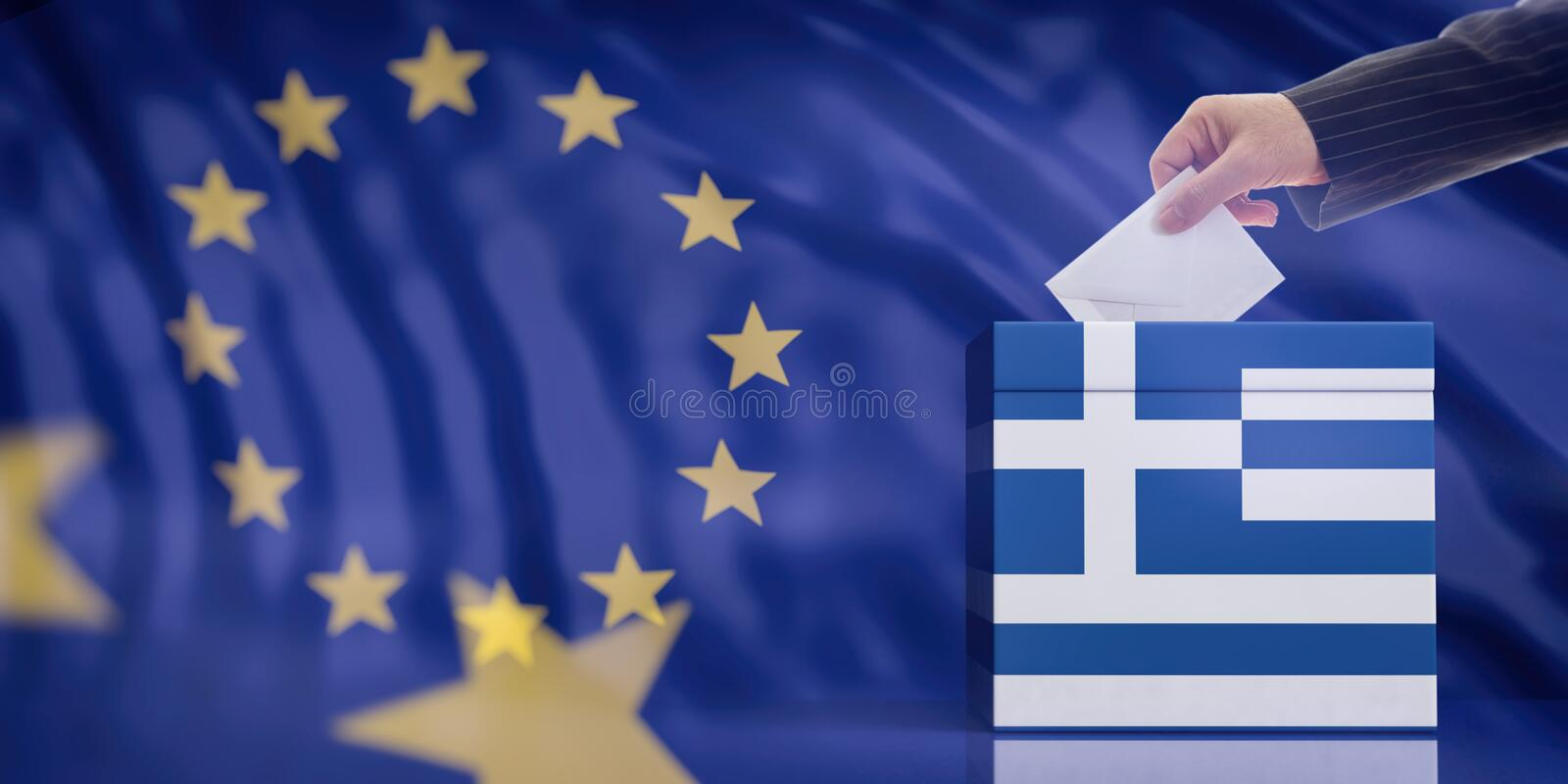 Hand inserting an envelope in a Greece flag ballot box on European Union flag background. 3d illustration royalty free stock photos