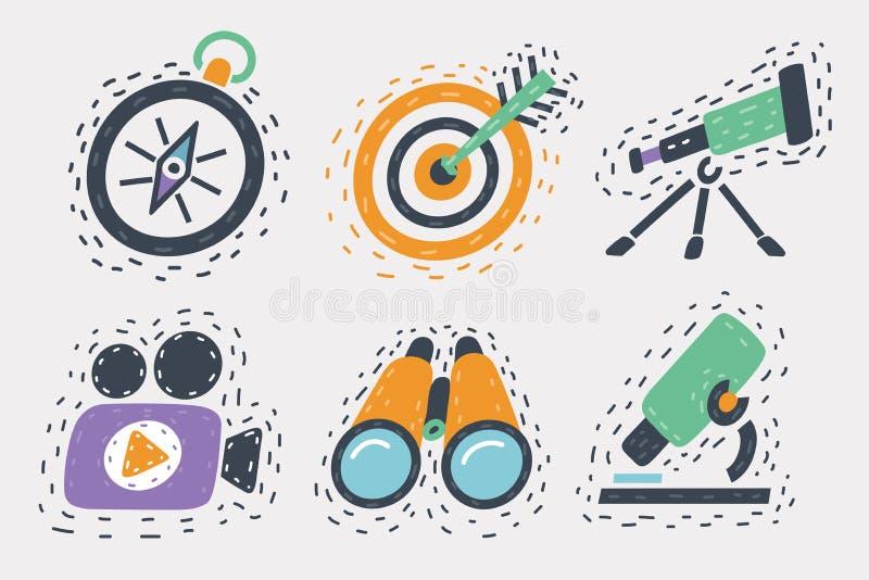 Hand inställda tecknade symboler vektor illustrationer