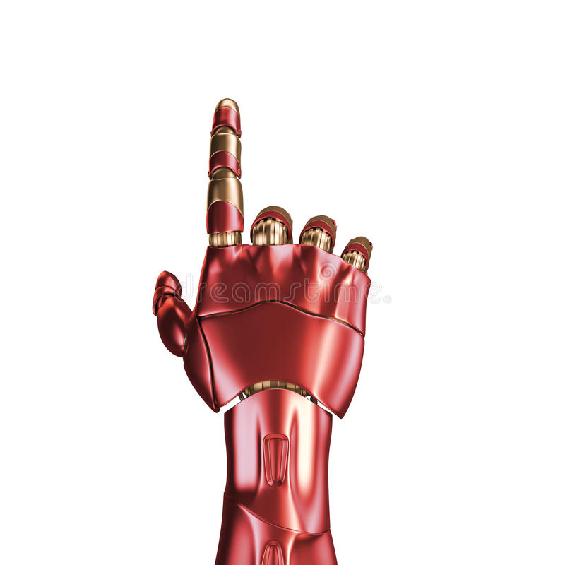 Download The Hand Of An Iron Man. Red And Gold Coloring. 3d Rendering.