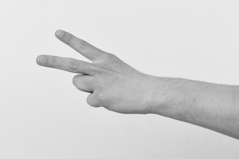 Hand isolated on light grey background, copy space. Count down and nonverbal communication. Male hand shows two fingers. royalty free stock image